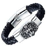 Geflochtenes Leder-Armband für Herren mit Edelstahl Löwe und Schwarz Echtes Leder Biker Armband - 2