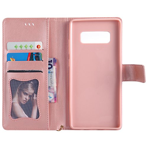 Galaxy Note 8 Hülle , Camiter Rosa Schönheit Mädchen Design Leder pu Magnetverschluss Wallet Case Schutzhülle Standfunktion Handytasche Hülle mit 9 Karteneinschub /Trageschlaufe und Spiegel für Samsun Girl RoseGold