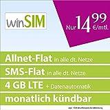 winSIM LTE All 4 GB [SIM, Micro-SIM und Nano-SIM] monatlich kündbar (4 GB LTE-Internet mit max. 50 MBit/s + Datenautomatik, Telefonie-Flat, SMS-Flat, 14,99 Euro/Monat) O2-Netz