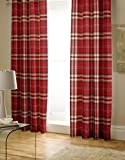 Catherine Lansfield Kelso Cotton Rich Pencil Pleat Curtains Red, 66x72 Inch