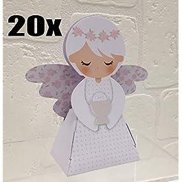20 PEZZI Portaconfetti a forma di ANGELO ROSA COMUNIONE bambina scatolina carta BOMBONIERA