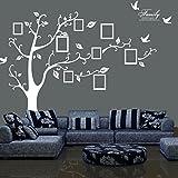 FPBS Riesige Bilderrahmen Fotorahmen Speicher Baum Gedächtnis Baum mit Rebe Baum Zweige Family Wandtattoo Sticker (Links nach rechts, Weiß)