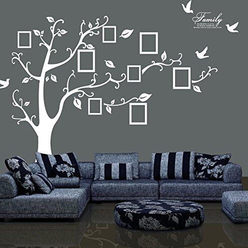 Jessie & Letty PVC memoria albero con cornice portafoto da parete in vinile-Ricordi Preziosi (destra fronte) Bianco