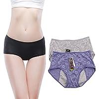YOYI FASHION Women Menstrual Period Briefs Jacquard Easy Clean Panties 3-Pack