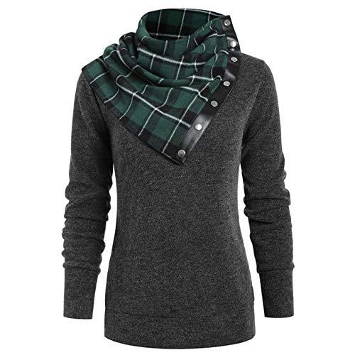YWLINK Damen Schalkragen Tunika T Shirt Bluse Lange ÄRmel Einfarbiges Oberteil Plaid Asymmetrischer Kragen Herbst Und Winter Warm Tops(M,Grün)
