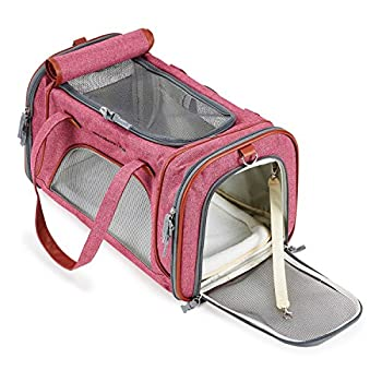Louvra Sac De Transport Chat Petit Chien Chihuahua Animaux Lapin Pliable Lavable Coussin Sac à Main Bandoulière pour Balader Voyage en Voiture Train Avion