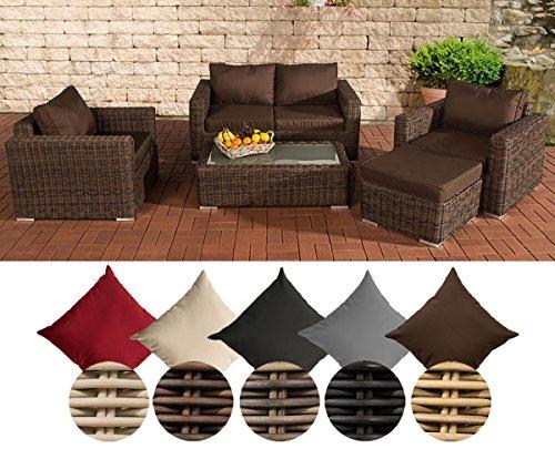 CLP Polyrattan-Lounge MADEIRA inklusive Polsterauflagen | Gartenmöbel-Set bestehend aus einem 2er-Sofa, zwei Sesseln einem Loungetisch und einem Hocker | In verschiedenen Farben erhältlich Bezugfarbe: Terrabraun, Rattan Farbe braun-meliert