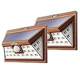 Litom 2 Luces Lámparas Focus Solar 24 LEDs 528 lm Recargable Impermeable con Sensor de Movimiento, Iluminación Exterior Seguridad para Garaje Patio Jardín Pared,2 Unidades, Estampa de Madera
