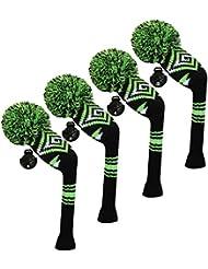 Scott Edward Housses de tête de club de golf hybride/utilitaires, 4 pièces emballées, motif abstrait, fil Acrylique Double-layers en tricot, avec rotatif Nombre balises, 4 couleurs en option, Green
