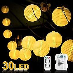 Vivibel LED Lichterkette Außen Lampions, Lichterkette mit Fernbedienung und Timer 30 LEDs Laternen 8 Modi Wasserdicht für Garten, Hof, Balkon, Batteriebetrieben (Warmweiß)