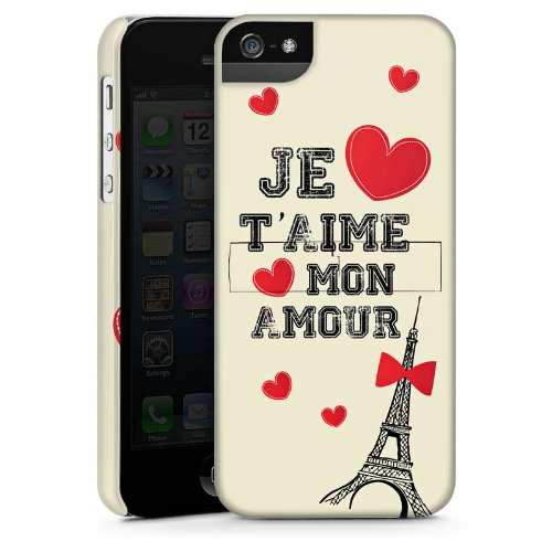 Apple iPhone 5s Housse Étui Protection Coque C½ur Phrase Mon Amour CasStandup blanc