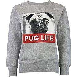 Sudadera color gris pug life