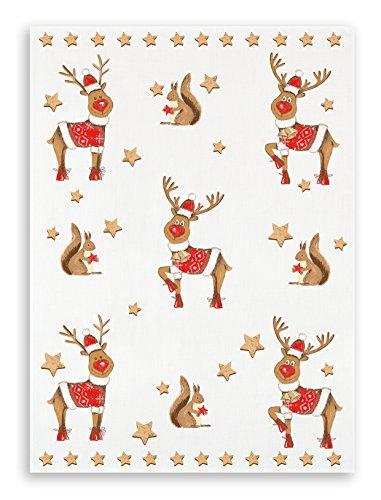 KRACHT, Weihnachten Geschirrtuch Halbleinen bedruckt, Motiv Weihnachtsballett, Edition ziczac-affaires, ca.50x70cm