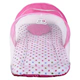 Superminis Multicolor Dot On White Base Design Bedding Set Thick Base, Foldable Mattress, Heart Shape Pillow and Zip Closure Mosquito Net (6-12 Months, Pink)