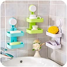 J AND V ENTERPRISE Plastic Nevil Multipurpose Double Layer Soap Dish Holder with Super Suction Cup Rack for Bathroom Use (Multicolour)