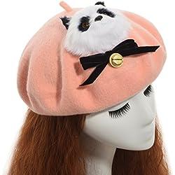 GRACEART Mujeres Hecho a Mano Lolita Boina Gorra Panda (Rosado)