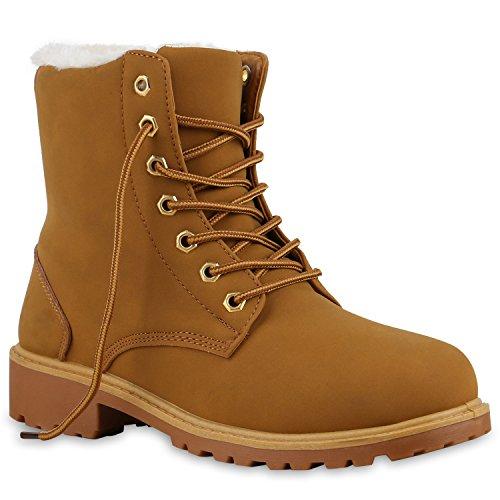 Stiefelparadies Worker Boots Warm Gefütterte Damen Herren Stiefeletten Knöchelhohe Stiefel Zipper Kunstfell Outdoor Schuhe 127119 Hellbraun Weiß 39 Flandell