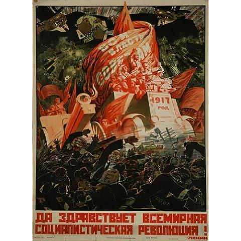 Vintage revolución rusa Propaganda largo LIVE THE INTERNATIONAL revolución socialista! c1917 250gsm A3 brillante cuadro decorativo de