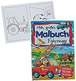 Unbekannt A4 - großes Malbuch - Fahrzeuge - Kindermalbuch - Feuerwehr / Eisenbahn / Auto / Traktor / Schiffe / Bagger - Ausmalbuch mit Malvorlagen für Jungen - groß zum..