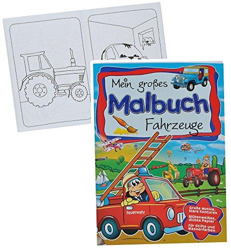 A4 - großes Malbuch - Fahrzeuge - Kindermalbuch - Feuerwehr / Eisenbahn / Auto / Traktor / Schiffe / Bagger - Ausmalbuch mit Malvorlagen für Jungen - groß zum Ausmalen - Flugzeug-aufkleber-buch