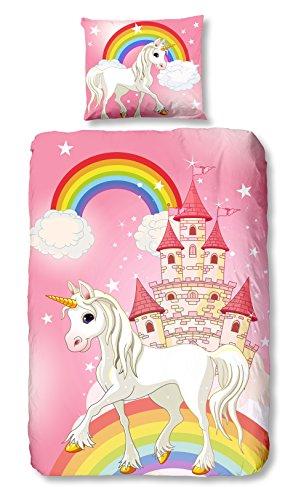 Aminata Kids - Kinder-Bettwäsche-Set 135-x-200 cm Einhorn-Motiv Unicorn Sache-n Pferd-e Haus-Tiere 100-% Baumwolle Renforce rosa Weiss pink-e Regenbogen Schloss Mädchen - Daisy-duvet-set