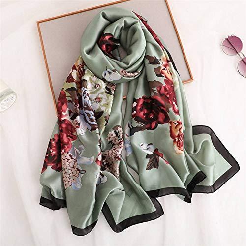 ALPNXZ Seidenschal Damen Frauen aus Reiner Seide Schal weibliche Print Floral Foulard Schals und Scaves Strand Hijab 180 * 90Cm -