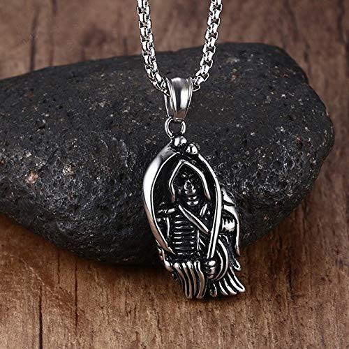 Skull Reaper Kostüm - DADATU Halsketten für Herren Men Es Jewelry Death Scythe Skull Halskel Edelstahl Gothic Grim Reaper Death Pendant Halskette