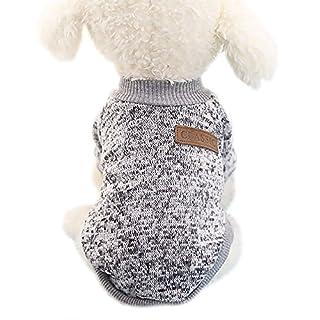 Aulola Hundemantel für den Winter, für Welpen, Katzen, Strickkleidung, Haustiere, warm, Größe L, Grau