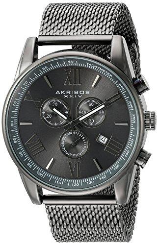 Akribos XXIV Homme Ak813gn chronographe Gun Metal Maille en acier inoxydable Bracelet de montre