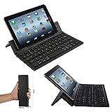 Faltbare Aluminium Bluetooth Tastatur Tablet für Sony Xperia Tablet Z2 SGP511 - F18 Schwarz