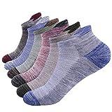 NAFFIC Calzini da uomo sportivi, da corsa calzini da trekking calzini sportivi da esterno calzini cotone traspirante calzini bassi sportivi in cotone traspirante anti umidità 6 paia (multicolore)