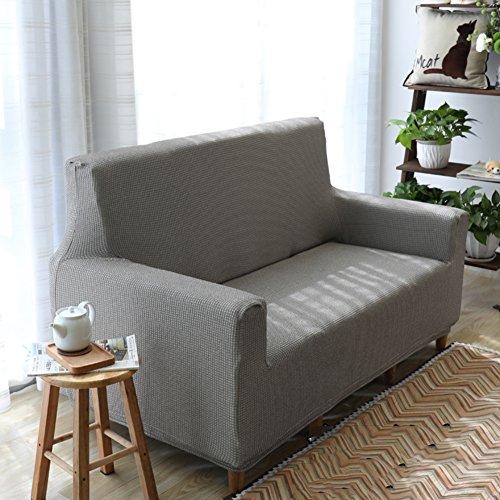 DW&HX Wasserdichte stretch sofabezug,Leinen Schmutz-beweis Anti-rutsch Möbel-protector für hund kinder sofa slipcover-Graue Bettwäsche 35-43in (Wasserdicht Bettwäsche Hund)