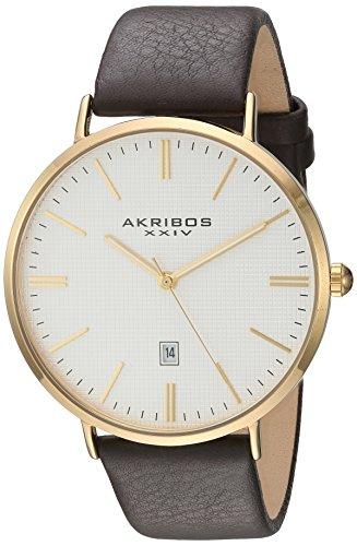 Akribos XXIV Homme Gold-Tone Coque avec Tons Or Accents texturé Cadran blanc sur noir Bracelet cuir véritable montre Ak935