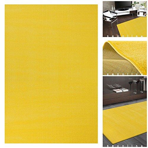Teppiche UNI FLAT Gelber Flachflor Teppich | m. ÖKO-TEX geeignet für Kinderzimmer | Kurzflor Flache Teppiche Läufer für Diele oder Wohnbereich | Einfarbiger Teppich in Gelb ohne Muster, Größe:120x170 cm