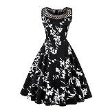 iBaste Damen A-Linie Kleid 50s Retro Rundhals Hepburn Rockabilly Kleid Sommerkleid Partykleid Cocktailkleid Knielang
