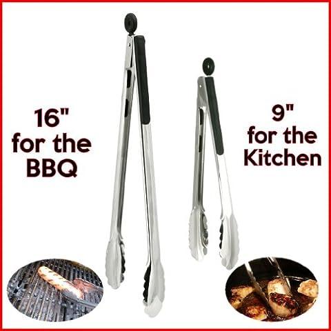 Due manici in acciaio INOX, colore: nero, con gli alimenti tongs. One x (16 Pinze 40,64 cm, ideale per barbecue, griglia e One x 22,86 cm (9