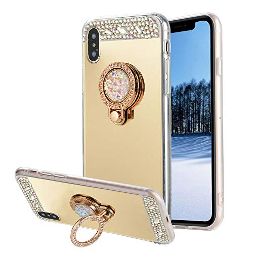 für iPhone X/XS Hülle Schutzhülle,Areal TPU Silikon Diamant Bling Glitzer Kristall Transparent Klar Spiegel Handyhülle [Ring Ständer Halter] für iPhone XS/iPhone X 5.8 Zoll + Bildschirmschutz Film,Gold