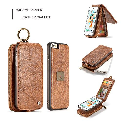 SDDMALL CaseMe Wallet Leder Telefon Fällen Metall Ring Auto Flip Holder Coque Karte Full Cover Fall Taschen für Apple iPhone 6S ( Color : Black ) Red
