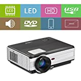 LCD HD projecteur vidéo, 4000 lumens WXGA multimédia LED projecteur Home Cinema Theater 1080p soutien HDMI USB extérieur de divertissement Proyector pour ordinateur iPhone consoles de jeux DVD