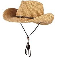 Meaeo Il Cappello da Cowboy per Uomini Donne Larga Tesa Cappello di Paglia  Beach cap Sun b6835c41a01e