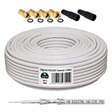 10m 130dB Koaxial Kabel HB-DIGITAL Set SAT-Kabel inkl. 4...