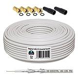 10m 130dB Koaxial Kabel HB-DIGITAL Set SAT-Kabel inkl. 4 F-Steckern vergoldet und 2 Schutztüllen, 10m Koaxkabel für Satellitenempfang, Schirmungsmaß 130dB, bester Empfang für HDTV, 3D, FullHD, Ultra HD, HD 4K2K, UHDTV