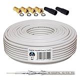 10m 130dB Koaxial Kabel HB-DIGITAL Set SAT-Kabel inkl. 4 F-Steckern vergoldet und 2 Schutztüllen, 10m Koaxkabel für Satellitenempfang, Schirmungsmaß 130dB, HDTV 3D FullHD Ultra HD