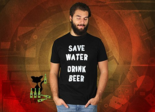 Save Water Drink Beer - Herren T-Shirt von Kater Likoli Deep Black