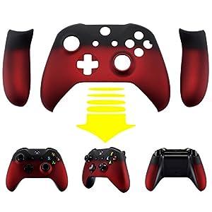 eXtremeRate Xbox One S X Schutzhülle Soft Touch Obere Case Hülle Cover Schale Gehäuse mit 2 Seitenteilen für Xbox One S/Xbox One X Controller(Rot/Schwarz)