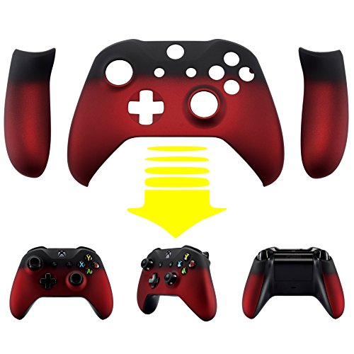 eXtremeRate Schutzhülle Soft Touch Obere Case Hülle Cover Schale Gehäuse mit 2 Seitenteilen für Xbox One S/Xbox One X Controller(Rot/Schwarz)