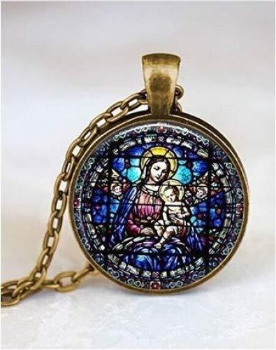 (Jungfrau Maria und Kind gebeizt Glas & # •; Christian Schmuck & # •; Christliches Geschenk & # •; Virgin Mary Halskette & # •; Christian Halskette & # •; Baby Jesus Schmuck)