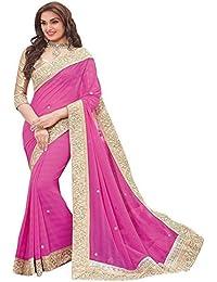 Fabulous Trendz Women's Chiffon Saree With Blouse Piece (Priya Lightpink_Light Pink)