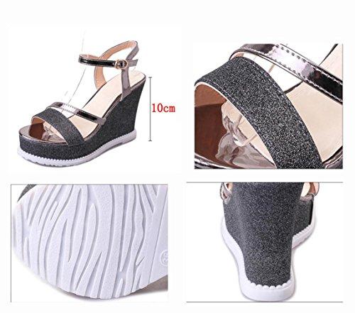 Ms. tacchi alti sandali crosta spessa dei sandali pattini impermeabili della testa dei pesci aumentata sandali banchetto Black