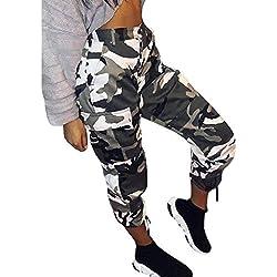 Pantalon Militar Mujer Pantalones De Tiempo Libre Pants Pantalon Largos Elegantes Moda Joven Tendencia Streetwear Swag Talla Grande Retro Señora Otoño Invierno (Color : Blanco, Size : S)